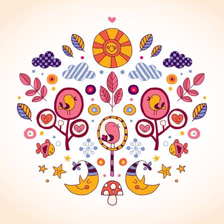 zon en maan: zon, maan, vogels, bomen, vissen, wolken, harten en sterren aardillustratie Stock Illustratie