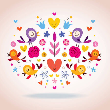 hearts, birds and flowers vector illustration Vector