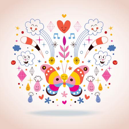 Butterfly, clouds, flowers, diamonds, raindrops cartoon nature vector illustration Vector