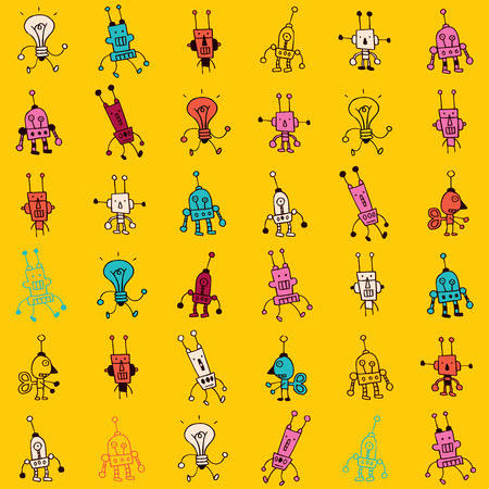 stuff toys: Cute cartoon robot characters seamless pattern