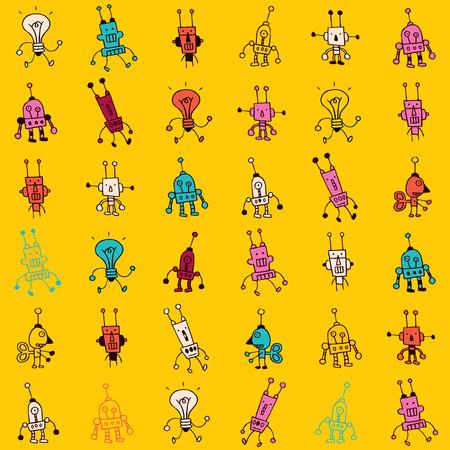stuff toys: Cute cartoon robot characters seamless pattern