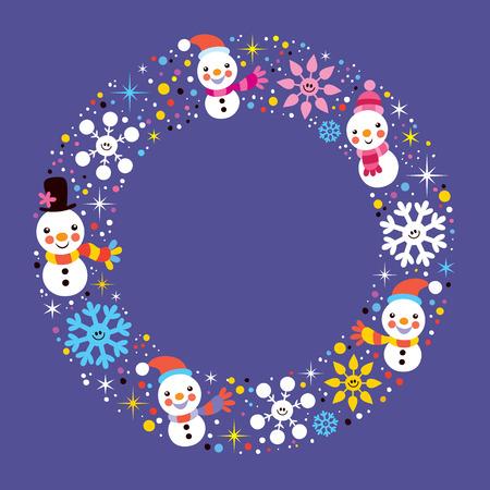 Christmas snowman & snowflakes winter holiday circle frame border background Vector