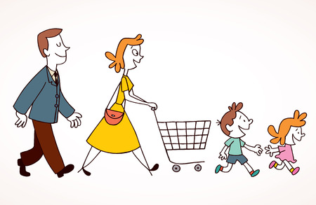 kid shopping: family shopping Illustration