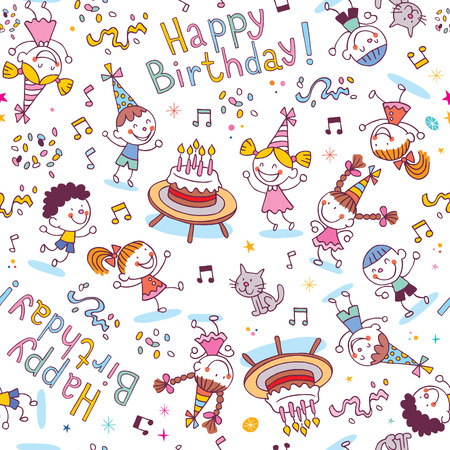 Happy Birthday kids party pattern Vector
