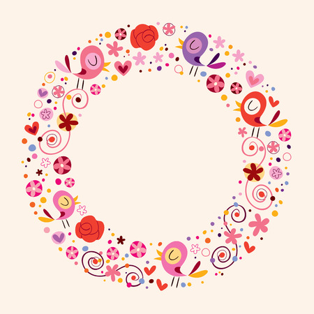 love birds and flowers nature circle frame border ornamental background