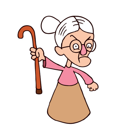 怒っている祖母文字