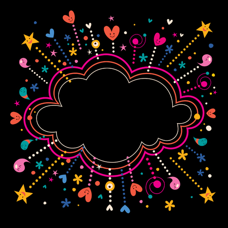 happy fun star bursts cartoon cloud shape banner frame background 일러스트