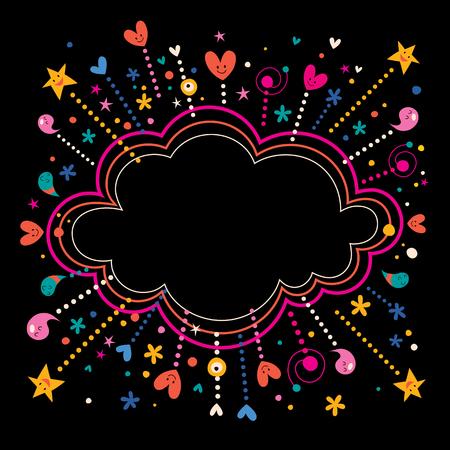 happy fun star bursts cartoon cloud shape banner frame background Stock Illustratie