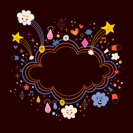 cloud shape: star bursts cartoon cloud shape banner frame background