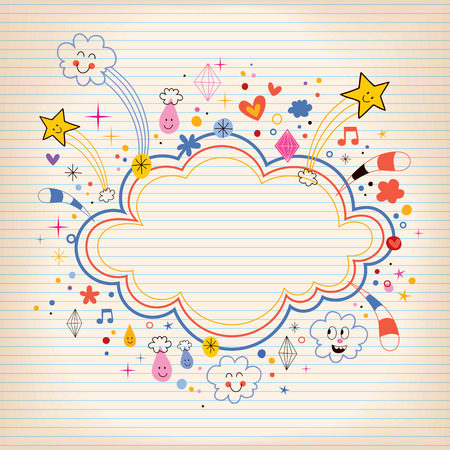 star bursts cartoon cloud shape banner frame lined note paper background Vector