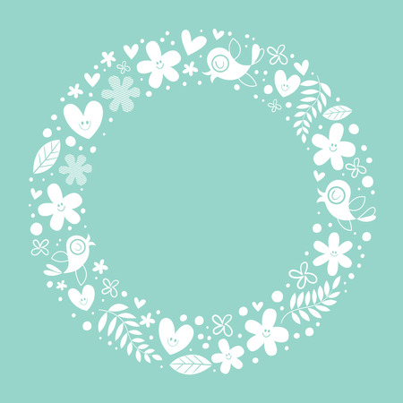 copy center: flowers, hearts, birds love nature circle frame background Illustration