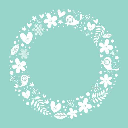 flowers, hearts, birds love nature circle frame background Illustration