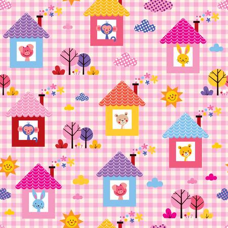 baby bear cartoon: cute baby animals in houses kids pattern