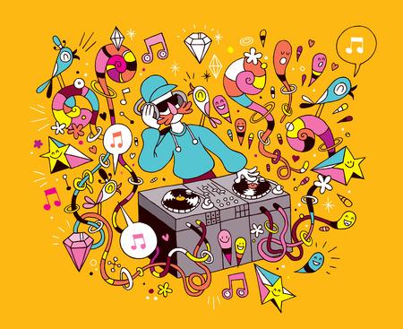 DJ playing mixing music on vinyl turntable cartoon illustration Vector