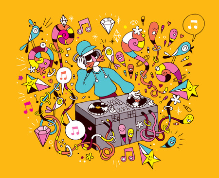 hands on hips: DJ playing mixing music on vinyl turntable cartoon illustration Illustration