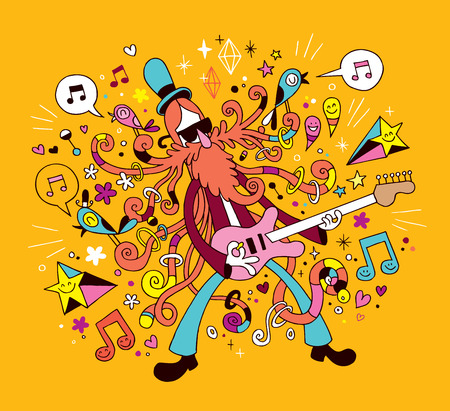 rockgitarist cartoon illustratie Stock Illustratie