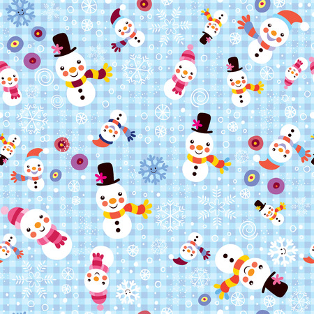 christmas wrapping: Christmas snowman & snowflakes winter seamless pattern Illustration