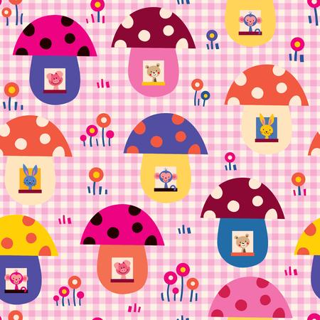 cute baby animals in mushroom houses kids pattern Vector