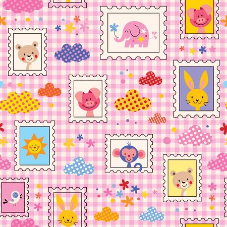 かわいい赤ちゃん動物のパターン  イラスト・ベクター素材
