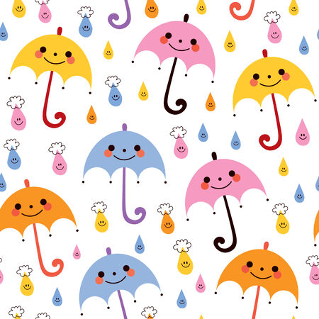 rainy days: cute umbrellas raindrops seamless vector rain pattern