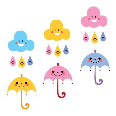 sun umbrella: cute umbrellas raindrops clouds characters vector illustration Illustration