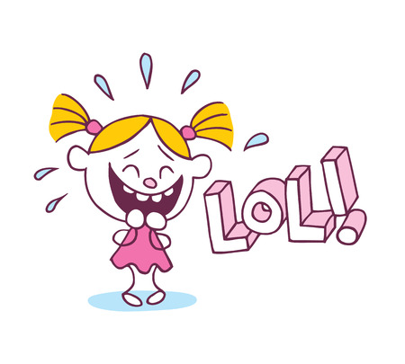 lol: LOL laughing out loud little cute girl Illustration