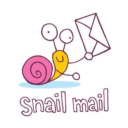 snail mail cartoon character  イラスト・ベクター素材