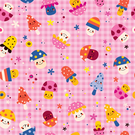cute mushrooms characters nature pink seamless pattern Vector