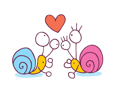 Snails In Love cartoon illustration Vector