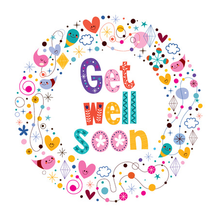 wellness background: Get well soon card