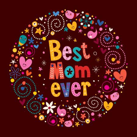 幸せな母の日のレトロなカード史上最高のママ  イラスト・ベクター素材