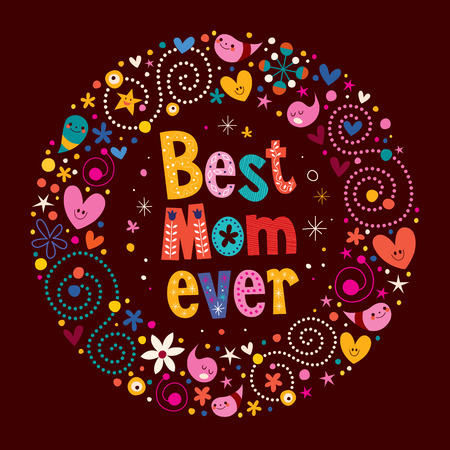 Happy Mothers Day retro card Best Mom Ever Zdjęcie Seryjne - 33379326