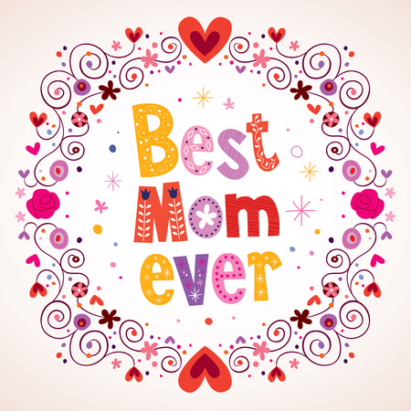 最好的妈妈永远的心和鲜花卡