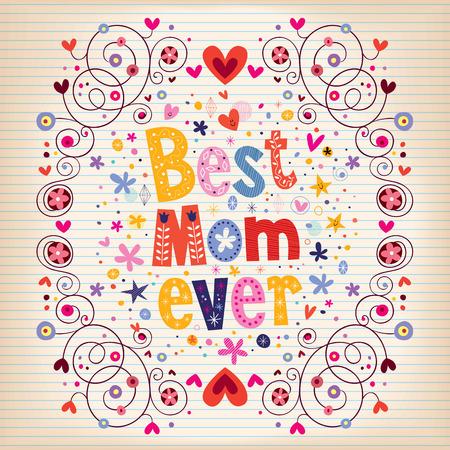 快乐的母亲节卡片设计用手做了复古印刷术最好的妈妈