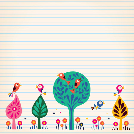 birds in the trees nature illustration lined paper background Imagens - 33011449