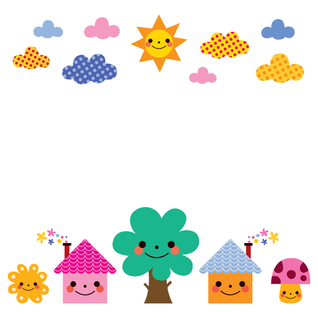 cute houses, tree, sun, mushroom, clouds kids background illustration Stock Illustratie