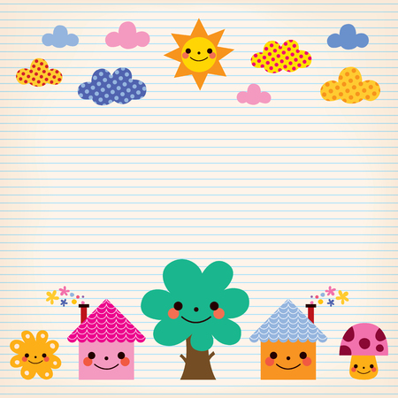 cute houses, tree, sun, mushroom, clouds kids lined paper background Vector