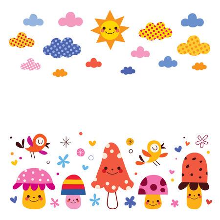 funghi, gli uccelli, i bambini nubi sole sfondo illustrazione