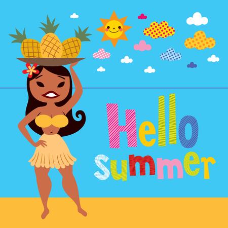 Hello summer pineapple hula girl on the beach Vector