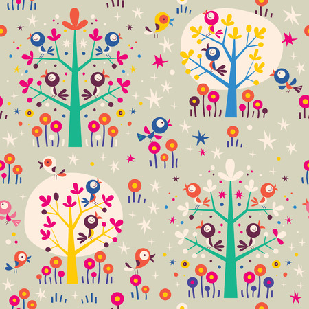 birds in the trees cartoon nature forest retro seamless pattern Vector