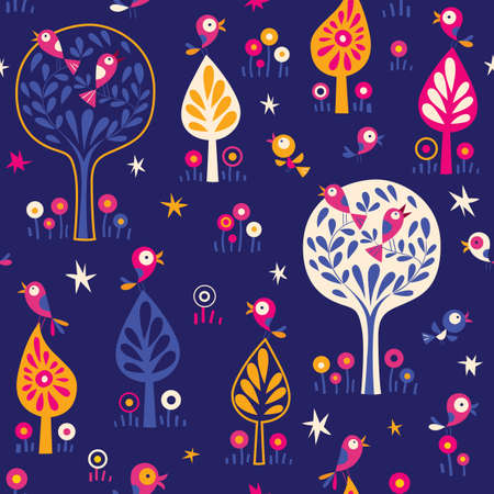 birds in the trees nature forest night pattern Vector