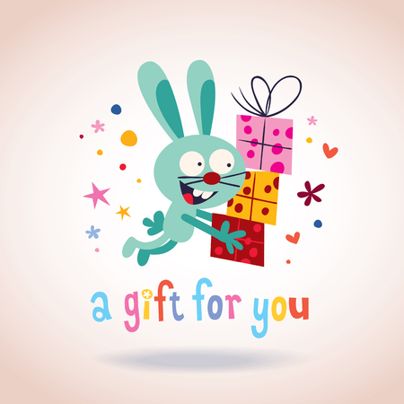 A gift for you bunny with presents Vector
