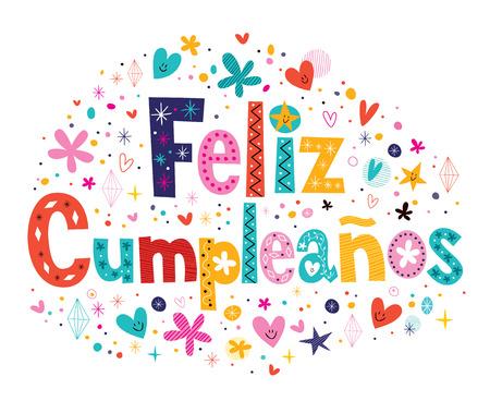 Feliz Cumpleanos - Happy Birthday in Spanish text