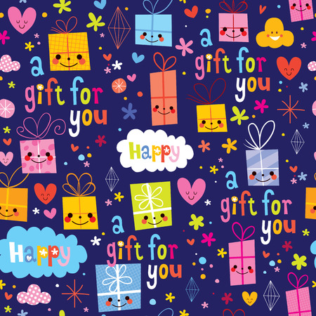 gift pattern: gift wrapping paper cartoon seamless pattern