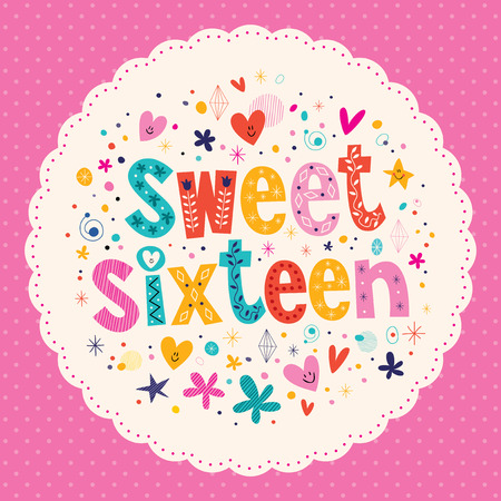 Sweet Sixteen card Vector