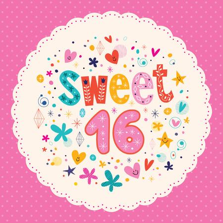 sweet sixteen: Sweet Sixteen card Illustration