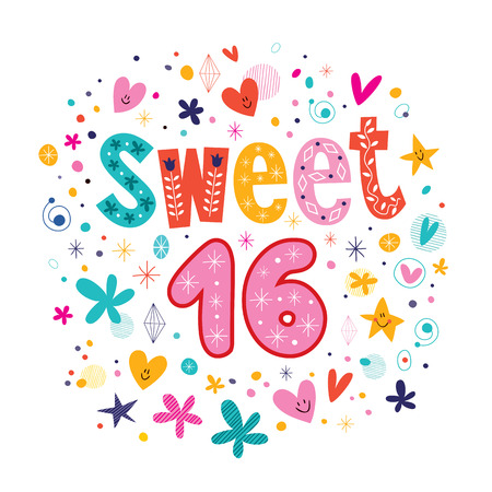 sweet sixteen: Sweet Sixteen text decorative retro typography lettering Illustration