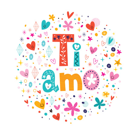 Ti amo I love you in Italian hand lettering romantic design