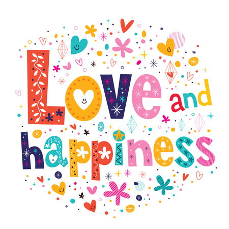 liefde en geluk typografie belettering decoratieve tekst kaart Stock Illustratie
