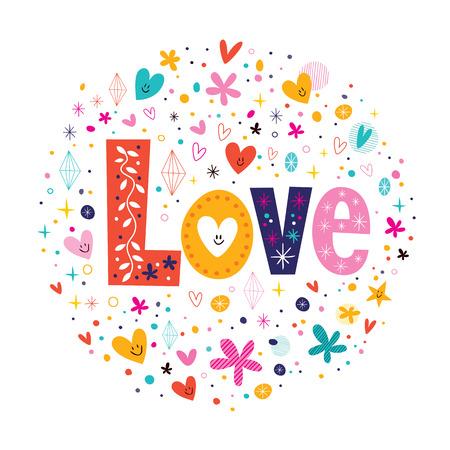 woord Love retro typografie belettering decoratieve tekst